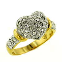 Rings - size 8  heart cz right hand ring Image.