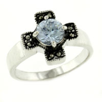 Sterling Silver Jewelry - size8  baby blue cz celtic cross 925  sterling silver fashion ring Image.