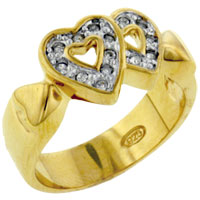 Rings - size 8  cz hearts right hand ring Image.