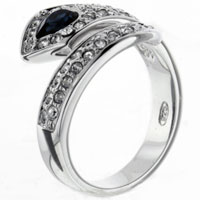 Rings - sparkling sapphire &  clear cz twist 925  sterling silver ring jewelry Image.
