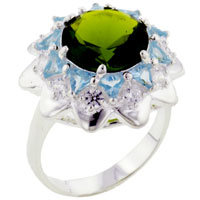 Sterling Silver Jewelry - fashion 925  sterling silver round cut peridot cz starburst ring Image.