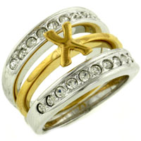 Rings - size8  clear cz 925  sterling silver & 14 k gold plated x ring two tone Image.