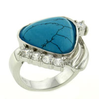Theme Jewelry - turquoise with clear cz 925  sterling silver ring vintage Image.