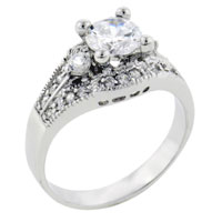 Sterling Silver Jewelry - size 8  round cut cz right hand ring Image.