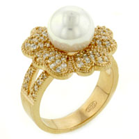 Mother Of Pearl Jewelry - size 8  freshwater pearl cz rings Image.