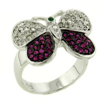 Rings - fashion 925  sterling silver multi color cz butterfly ring jewelry Image.