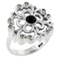 Rings - round cut onyx flower right hand ring Image.