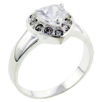 Rings - size 8  cz heart right hand ring Image.