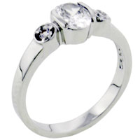 Rings - oval stone cz sterling silver ring gift fashion jewelry Image.
