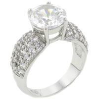 Rings - hot size8  gleaming round cz 925  sterling silver band ring jewelry Image.