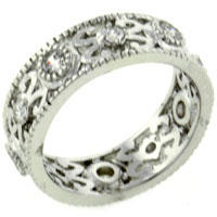 Rings - clear cz size8  detailed band ring in 925  sterling silver jewelry Image.