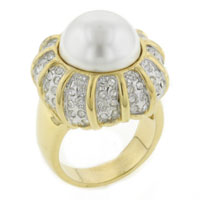 Mother Of Pearl Jewelry - hot selling 14 k gold plated large faux white pearl sparkling cz ring Image.
