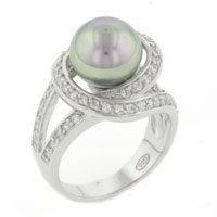 Mother Of Pearl Jewelry - classic cultured pearl &  clear cz 925  sterling silver ring jewelry Image.