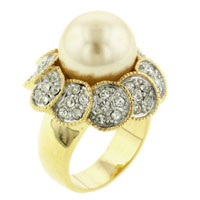 Mother Of Pearl Jewelry - hot size8  cultured pearl &  clear cz 14 k gold plated sparkling ring Image.