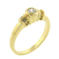 Rings - round cz golden band sterling silver ring gift jewelry fashion Image.