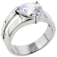 Rings - size8  forked band cz 925  sterling silver ring gift fashion jewelry Image.