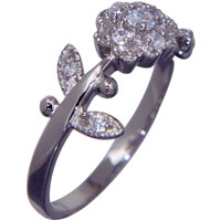 Rings - fashion vintage floral detail clear cz 925  sterling silver ring Image.