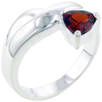 Rings - size 8  citrine triangle sterling silver right hand ring Image.
