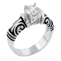 Rings - size8  antique cz sterling silver ring gift fashion jewelry Image.