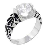 Rings - round cz engraved sterling silver ring gift jewelry fashion Image.