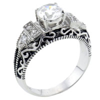 Rings - hot size 8  round clear cz vintage right hand ring jewelry Image.