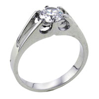 Rings - size8  round cathedral set cubic zirconia sterling silver ring gift fashion jewelry Image.