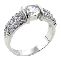 Rings - size8  round cz pave sterling silver ring gift jewelry fashion Image.