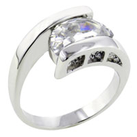 Rings - fashion size 8  clear cz crescent rhodium plated ring jewelry gift Image.