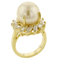 Mother Of Pearl Jewelry - new size8  acrylic pearl &  clear cz sunburst ring in brass jewelry Image.