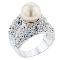Mother Of Pearl Jewelry - size8  pearl cz encrusted ring Image.