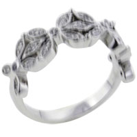 Rings - flowers sterling silver cz engagement right hand ring Image.