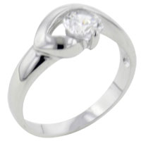 Rings - round cut cz chevron setting ring Image.