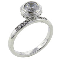 Rings - classic round cz encrusted 925  sterling silver ring jewelry fashion Image.