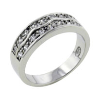 Rings - double wide wavy studded band sterling silver cz right hand ring Image.