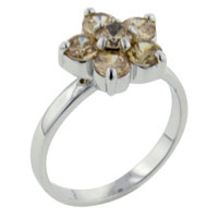 Rings - size8  peach cz flower sterling silver ring gift fashion jewelry Image.