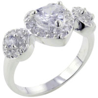 Rings - heart shaped cz 2  round sterling silver ring gift fashion jewelry Image.