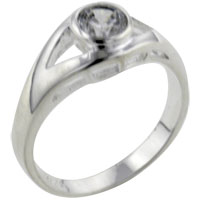 Rings - size8  round cz eye sterling silver ring gift jewelry fashion Image.