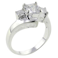 Rings - size8  square triple cz sterling silver ring gift jewelry fashion Image.