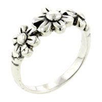 Rings - sterling silver size 8  fashion triple flowers rings Image.