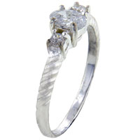 Rings - oval cz 2  square sides sterling silver ring gift jewelry fashion Image.