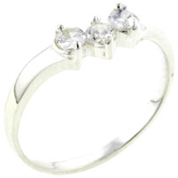 Rings - size8  triple round cz sterling silver ring gift jewelry fashion Image.