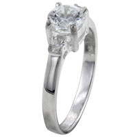 Rings - size8  round cz prong set sterling silver ring gift jewelry fashion Image.