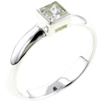 Rings - size8  square cz polished band sterling silver ring gift fashion jewelry Image.