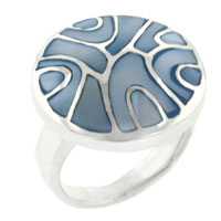 Mother Of Pearl Jewelry - size 8  blue mother swirl sterling silver ring pearl bracelet Image.