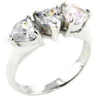 Rings - size8  triple heart cz sterling silver ring gift jewelry fashion Image.