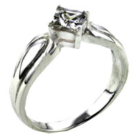 Rings - size8  square cz wrap sterling silver ring gift jewelry fashion Image.