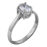 Rings - size8  oval cz raised solitaire sterling silver ring gift jewelry fashion Image.