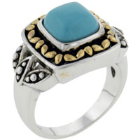 Theme Jewelry - size8  square faux turquoise ring class Image.