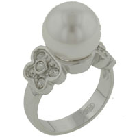 Mother Of Pearl Jewelry - size8  white pearl with cz butterfly sides ring Image.