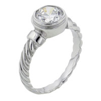 Rings - size8  round cz bezel set sterling silver ring gift jewelry fashion Image.